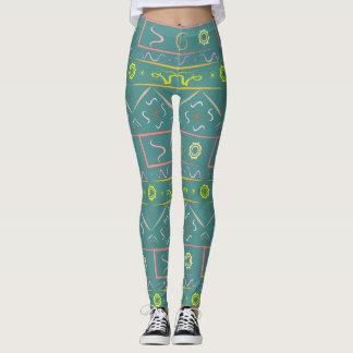 Grüner Pastell der Gamaschen mit ethnischem Muster Leggings