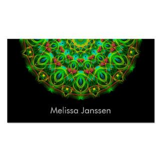 Grüner Pfau - Mandala Visitenkarten