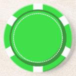 Grüner Poker-Chip-Sandstein-Untersetzer