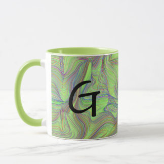 Grüner psychedelischer Strudel mit Initiale Tasse