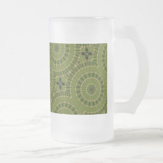 Grüner RadMandala/Grünes krasser Mandala Mattglas Bierglas