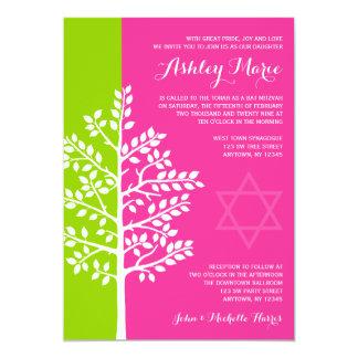 Grüner rosa Baum des Leben-Schlägers Mitzvah 12,7 X 17,8 Cm Einladungskarte