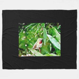 Grüner roter Kolibri Fleecedecke
