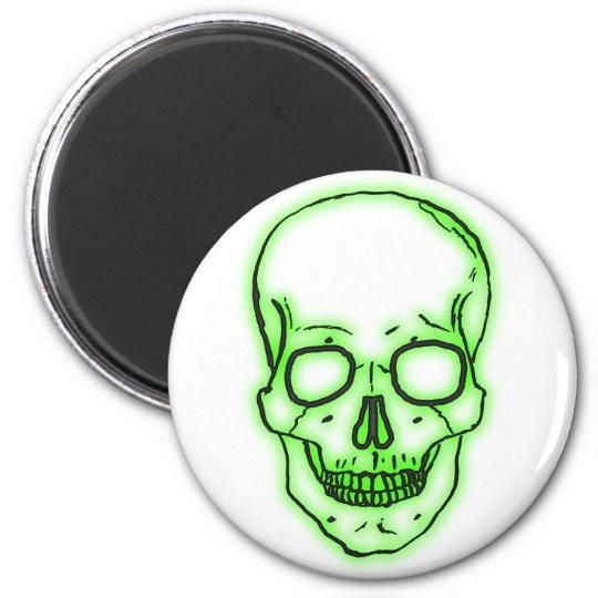 grüner Schädel Totenkopf green skull Runder Magnet 5,7 Cm