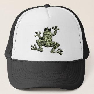 Grüner schwarzer Paisley-Frosch Truckerkappe