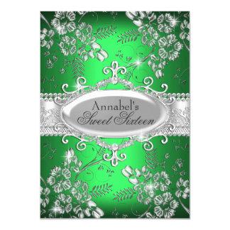 Grüner silberner Schein-Blumen-Bonbon 16 laden ein 11,4 X 15,9 Cm Einladungskarte