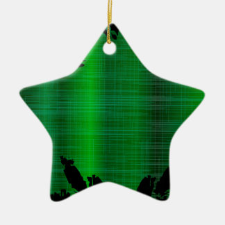 Grüner Spritzen-Hintergrund Keramik Stern-Ornament