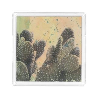 Grüner Spritzer des Wüsten-Kaktus-| Acryl Tablett