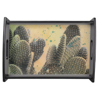 Grüner Spritzer des Wüsten-Kaktus-| Tablett