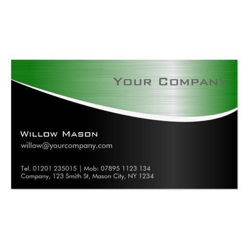 Grüner Stahleffekt, berufliche Geschäfts-Karte Visitenkarten