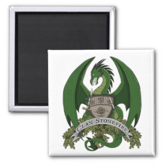 Grüner Stonefire Drache-Wappen-Magnet Quadratischer Magnet