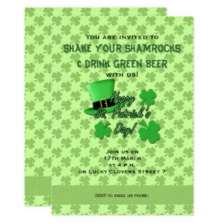 Grüner Tag Spitzenhut Kleeblatt-St. Patricks laden Karte