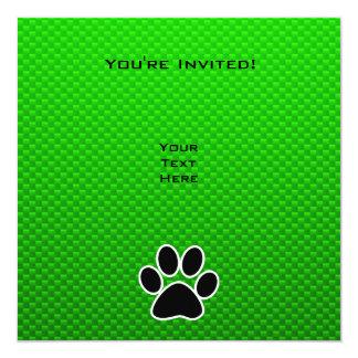Grüner Tatzen-Druck Quadratische 13,3 Cm Einladungskarte