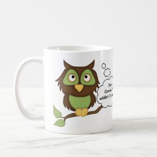 Grüner Tee-Süchtig-Grüne Eule Kaffeetasse