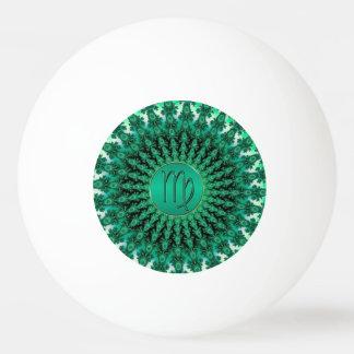Grüner Tierkreis-Zeichen-Jungfrau-FraktalMandala Tischtennis Ball