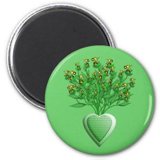 Grüner Traktor-Blumenstrauß-Magnet Kühlschrankmagnet