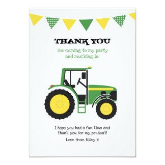Grüner Traktor-Geburtstag danken Ihnen Karte
