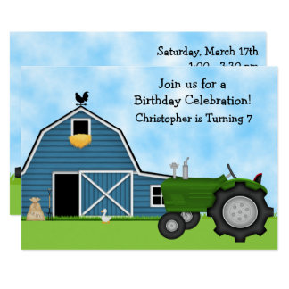 Grüner Traktor und blauer 12,7 X 17,8 Cm Einladungskarte
