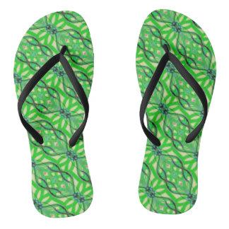 Grüner tropischer Dschungel abstrakt Flip Flops