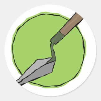Grüner Trowel - der Toolkit des Archäologen Runder Aufkleber