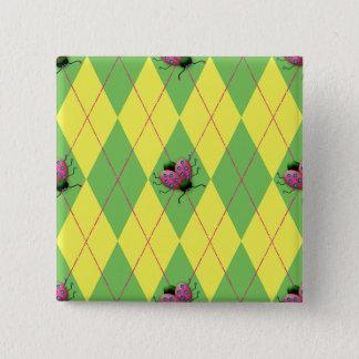 Grüner u. gelber Rauten-Marienkäfer Quadratischer Button 5,1 Cm