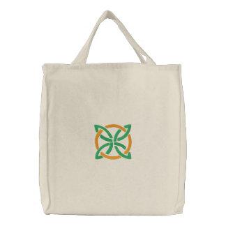Grüner u orange keltischer irischer Knüpfarbeit-E Leinentasche
