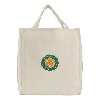 Grüner u orange keltischer irischer Knüpfarbeit-E Bestickte Einkaufstaschen
