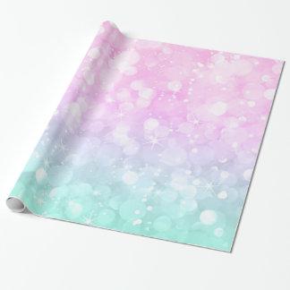 Grüner u. rosa bezaubernder Bokeh PastellGlitter Geschenkpapier