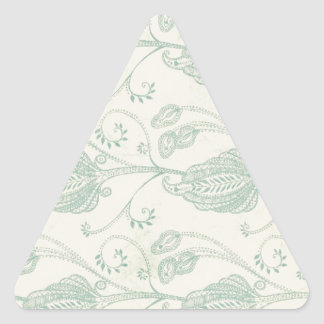 Grüner und beige Paisley-Druck Dreieckiger Aufkleber
