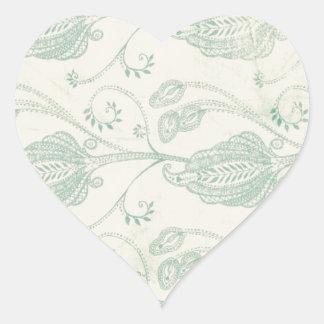 Grüner und beige Paisley-Druck Herz Sticker