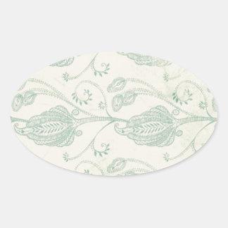 Grüner und beige Paisley-Druck Ovaler Aufkleber