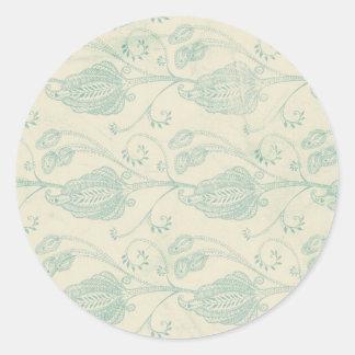 Grüner und beige Paisley-Druck Runder Aufkleber
