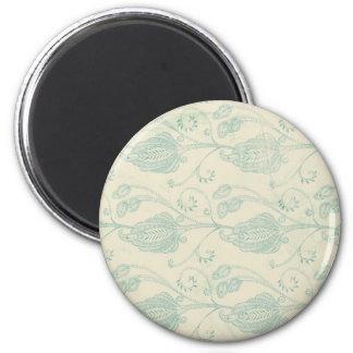 Grüner und beige Paisley-Druck Runder Magnet 5,7 Cm