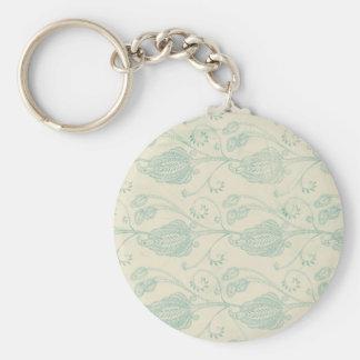 Grüner und beige Paisley-Druck Standard Runder Schlüsselanhänger