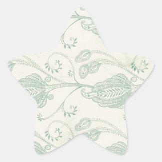 Grüner und beige Paisley-Druck Stern-Aufkleber
