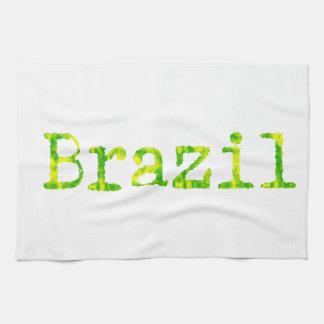 Grüner und gelber Schriftart Brasiliens Küchentuch