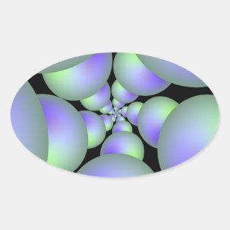 Grüner und lila Bereich-Spiralen-Oval-Aufkleber Ovaler Aufkleber