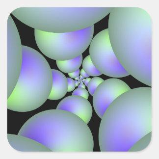 Grüner und lila Bereich-Spiralen-Quadrat-Aufkleber Quadratischer Aufkleber