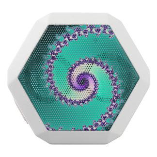 Grüner und lila Fraktal-Strudel Bluetooth Weiße Bluetooth Lautsprecher