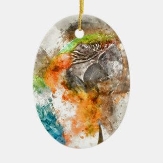 Grüner und orange Macaw-Vogel Keramik Ornament