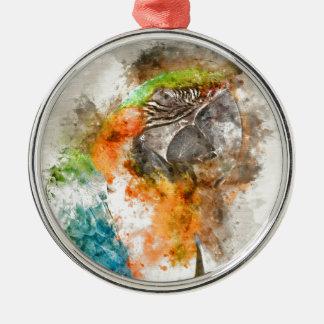 Grüner und orange Macaw-Vogel Silbernes Ornament