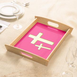 Grüner und rosa Querentwurf Serviertablett