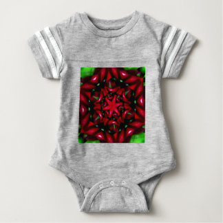 grüner und roter Entwurf kaleido Blume Baby Strampler