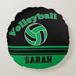 Grüner und schwarzer Volleyball | personifizieren Rundes Kissen