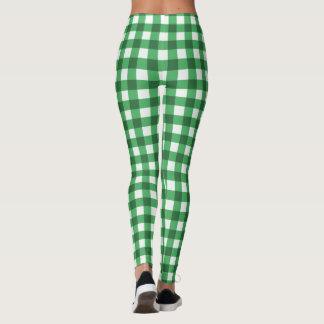 Grüner und weißer Gingham-Klassiker überprüftes Leggings