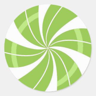 Grüner und weißer Süßigkeitsstrudel, Runder Aufkleber