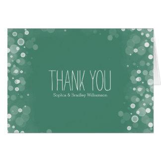 Grüner und weißer Traumconfetti Bokeh danken Ihnen Karte