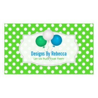 Grüner und weißer Tupfen: Ballon-Visitenkarten Visitenkarten