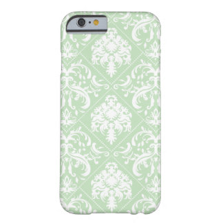 Grüner und weißer Vintager Damast der tadellosen Barely There iPhone 6 Hülle