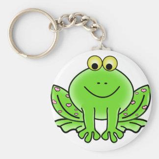Grüner Valentinsgruß-Frosch mit rosa Herzen Schlüsselanhänger
